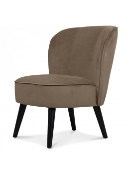 Fauteuil chic crapaud velours taupe LADI